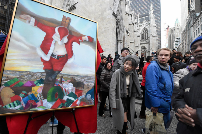 Crucified Santa On Display Outside St. Patrick's Cathedral